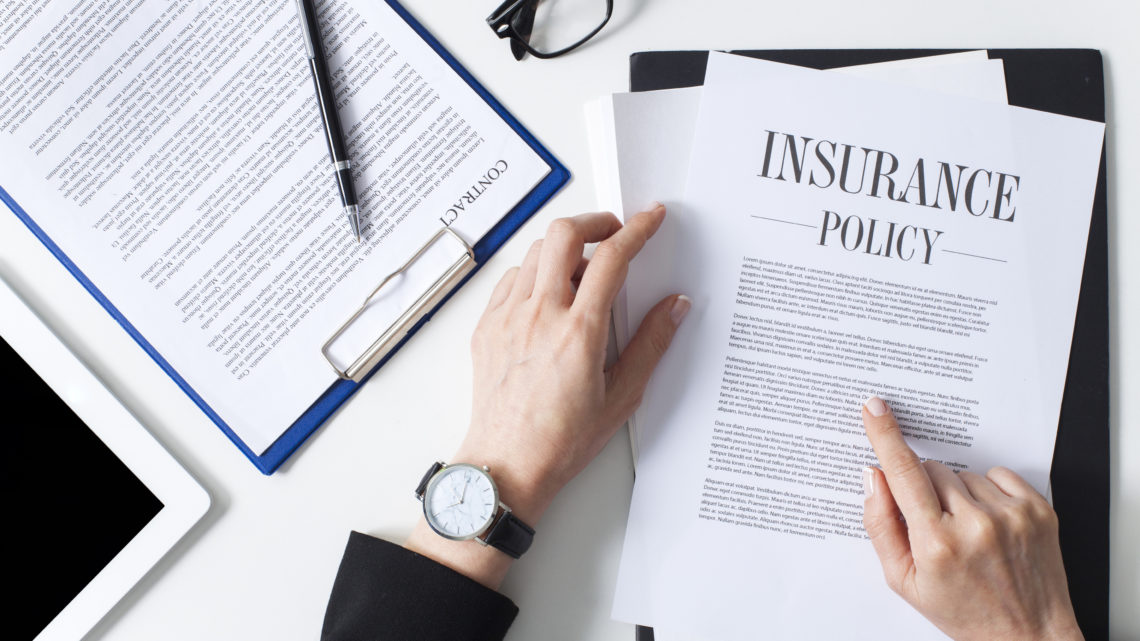 Business woman examining insurance policy